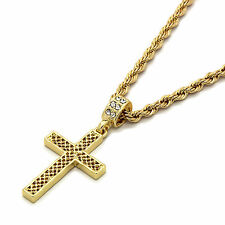 """Mens 14k Gold Plated Grid Cross Pendant With 24"""" inches Rope Chain Necklaces"""