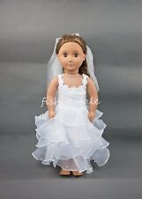 Fold-Type Wedding Gown With Veil Dress For 18''American Girl Doll Clothes #TYJ6Y