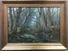FRAMED OIL ON CANVAS PAINTING by A.GILES A STUDY OF MALLARD WOODS NEW FOREST