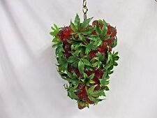 VTG RARE LUCITE GRAPES STYLE RED STRAWBERRIES PENDANT SWAG LAMP HANGING LIGHT