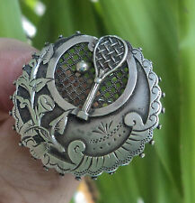 Vintage UNUSUAL Sterling Silver Tennis Sweetheart Brooch h/m 1889 Birmingham