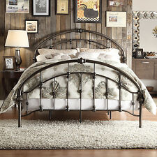 Queen Size Panel Bed Dark Pewter Wrought Iron Frame Headboard Footboard Bedroom