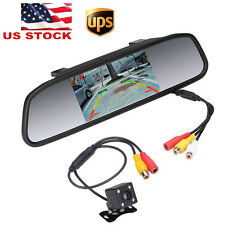 "12V 170° IR Car Reverse Parking Backup Camera & 4.3"" Rearview Mirror Monitor Kit"
