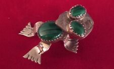Sterling Silver 3D Frog Pin Brooch Pendant - Semi Precious Stone - Artist Signed