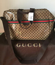 NWT GUCCI BEIGE XL DUFFLE BAG GG CRYSTALL CANVAS & DARK BROWN LEATHER TRIM