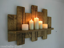 66 CM UPCYCLED RUSTIC PALLET WOOD FLOATING SHELF SHELVING SCONCE