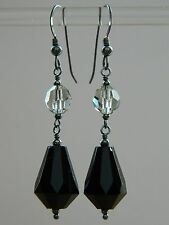 Art Deco French Jet Drops, Grey Cut Glass Crystal & Oxidised 925 Silver Earrings