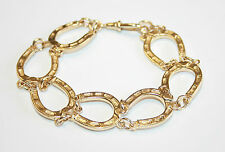 Large 9ct Gold Horse Shoe Link Bracelet Equestrian 8 inches 28.3 Grams