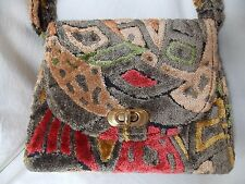 Vintage Women's Multi-Color Velvet Chenille Handbag & Matching Cosmetic Bag