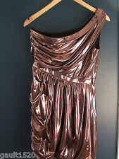 NWT Phoebe Couture Pink Metallic Sexy Grecian Shirred One Shoulder Dress 6 $290