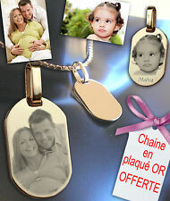 BIJOUX photo GRAVE sur Pendentif Rectangle PLAQUE OR 18K
