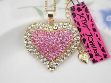 Betsey Johnson Fashion Jewelry inlay pink Crystal Heart Pendant Necklace # TX