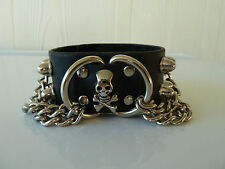 Mens/Womens leather Biker/Skull/Gothic black quality bracelet/wrist band, NWT