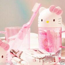New Hello Kitty Head Travel Towel Toothbrush Holder Set Pink HT03