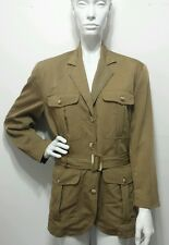 Vtg Banana Republic Safari & Travel Clothing Co. Olive Green Military Belted MM