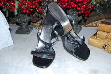 IMAGES ITALIAN WEDGE HEEL BLACK LEATHER STRAPPY SANDAL WOMEN'S SHOE SIZE 7 1/2 M