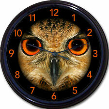 Owl Bird With Orange Eyes Wall Clock Bird Owls Nocturnal Halloween New 10""