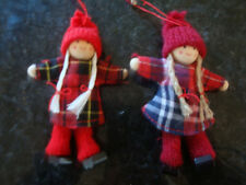 NEW SHABBY CHIC SET OF 2 SCANDI TARTAN DOLL CHRISTMAS TREE DECORATIONS FREE P&P