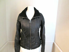 FIRETRAP Ladies black REAL LEATHER jacket size 8/10 - LOVELY