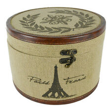 Paris France Eiffel Large Round Hat Box Container Burlap Cloth Fabric Brown