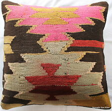 (50*50cm, 20inch) Turkish handwoven kilim cushion cover zigzag pink brown
