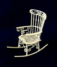Dolls House Miniature 1:12 Scale Furniture White Wire Wrought Iron Rocking Chair