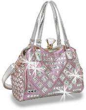 Rhinestone Geometric Retro Handbag Dual Straps Attachable Strap