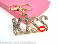 Large KISS LIP Keyring Sparkling Rhinestone Diamante Handbag Buckle Charm