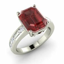 Emerald Cut Certified 3.50 Ct Garnet & SI Diamond 14k White Gold Engagement Ring