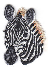 ZEBRA HEAD -  JUNGLE - ZOO ANIMAL - IRON ON EMBROIDERED PATCH - WILD ANIMALS