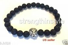 MEN'S LAVA ROCK SILVER LION HEAD  BRACELET 8 MM BEADS/8 INCHES  LONG