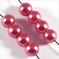 50 perles Nacrées 6mm Rose Pink verre de Bohème