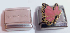 PINK BUTTERFLY 9mm Italian Charm + 1x Genuine Nomination Classic Link OCTOBER N3