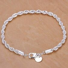 Silver Twisted Bracelet Rope Chain 925 Stamped Ladies Jewellery velvet gift bag