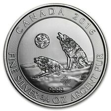 2016 Canada $2 3/4 oz Howling Wolves Wolf Fine Silver Bullion coin in capsule