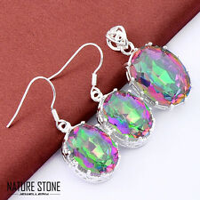 Gorgeous 2 pcs 1 Lot Rainbow Mystic Topaz Silver Necklace Pendant Earrings Sets