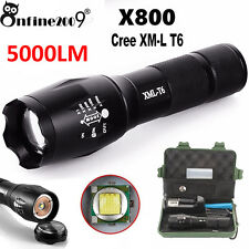 Zoomable 5000LM XML T6 LED Tactical Police Flashlight+Battery+Charger+Case