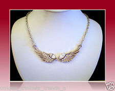 APRIL BIRTHSTONE CLEAR WHITE CRYSTAL SILVER ANGEL WINGS NECKLACE PENDANT GIFT
