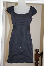 Zac Posen Dress UK 10 Cotton Cap Sleeves Navy Fitted Bodycon Pencil Dress