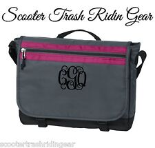 Personalized Computer Laptop Messenger Bag NEW monogram book business gray pink