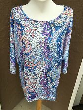 New Chico's Blue White Abstract Tiles Mosaic Top Shirt Tee Sz. 3 = XL 16/18 NWT