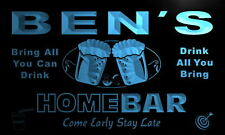 p212-b Ben's Personalized Home Bar Beer Family Name Neon Light Sign