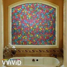 "Stained Glass 36"" x 24"" Home Window Vinyl Film Privacy Glass Decor Decal VViViD"