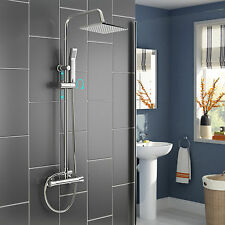 Thermostatic Rainfall Shower Head Mixer Valve Body Message Jets Hand Shower Tap
