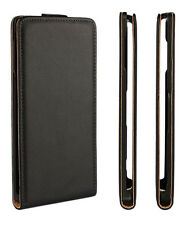 Black Genuine Leather Classic Flip Case Cover For Sony Xperia Z5 Compact