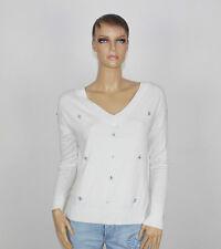 LIU JO NEU Gr.L Sommer-Pullover mit Steinchen Weiß Sommerpulli Pulli