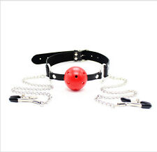 Leather Band Gag Oral Fixation Mouth Stuffed Adult Games for Couples Flirting