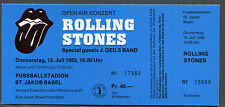 1982 Rolling Stones Tattoo You Tour Unused Full Concert Ticket Basel Switzerland