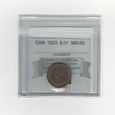 **1933**, Coin Mart Graded Canadian, Small One Cent, **MS-60**