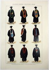 Academic Gowns - American Usage: An Original 1902 Dated Chromo Lithograph